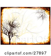 Clipart Illustration Of A Silhouetted Bare Brown Tree With Grunge Over A Pale Orange Background
