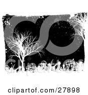 Clipart Illustration Of White Grunge Splatters Foliage And Bare Trees Over A Black Background