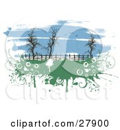 Seagulls Flying In A Painted Blue Sky Over Bare Trees Along A Fence In A Pasture With Green Grunge
