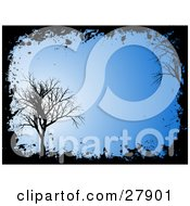 Clipart Illustration Of A Silhouetted Bare Black Tree With Grunge Over A Blue Background