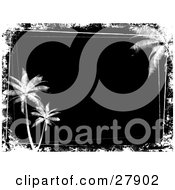 Clipart Illustration Of A Black Background Bordered By White Grunge And Palm Trees