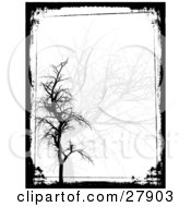 Clipart Illustration Of A White Background With Faded Gray And Solid Black Bare Trees Bordered By Black Grunge