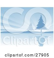 Clipart Illustration Of Two Evergreen Trees On The Shore Of A Still Lake Silhouetted Against A Bursting Blue Sky
