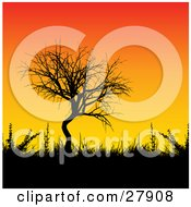 Clipart Illustration Of A Leafless Tree Grasses And Bushes Silhouetted Against A Gradient Orange And Yellow Sunset Background