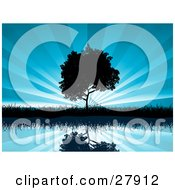 Clipart Illustration Of A Tree And Grasses Reflecting In Calm Blue Waters And Silhouetted Against A Bursting Sky Background