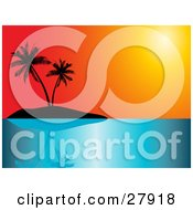 Clipart Illustration Of A Red And Orange Sunset Sky Over A Silhouetted Tropical Island With Palm Trees And Calm Blue Seas
