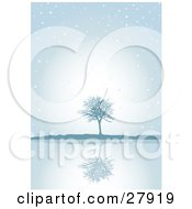 Clipart Illustration Of A Lone Bare Tree Reflecting On Still Waters On A Blue Snowy Foggy Winter Day