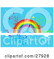 Plants Sprouting From A Colorful Rainbow On A White Text Bar Over A Blue Grunge Background