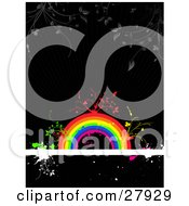 Clipart Illustration Of Gray Plants Hanging Down Over Red Green And Yellow Vines Sprouting From A Colorful Rainbow On A White Text Bar Over A Black Grunge Background