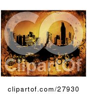 Clipart Illustration Of The City Of Benidorm In Black And White On Black Grunge Circles And Dripping Paint Over An Orange Background by KJ Pargeter