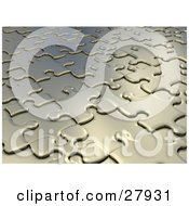Clipart Illustration Of A Background Of Raised And Lowered Silver Jigsaw Puzzle Pieces In Pale Gold Tones