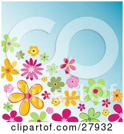 Clipart Illustration Of A Corner Of Colorful Green Orange And Pink Flowers Over A Blue Background