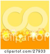Clipart Illustration Of A Two Toned Orange Background With Yellow White And Orange Flowers