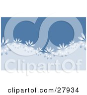 Clipart Illustration Of A Row Of Shiny Blue Flowers Riding On A Wave Of Light Blue Over A Dark Blue Background