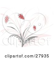 Clipart Illustration Of Red And Gray Flowers Blooming On A Gray Plant Over A Pink And Off White Background