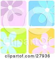 Background Of Purple Blue And Pink Flowers In Colorful Squares