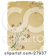 Clipart Illustration Of A Beige Background With Faded Flowers And A White Grunge Border With Green Plants And Brown Flowers In The Corners