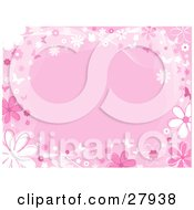Pink Background Bordered By White And Pink Daisies Flowers Lines And Butterflies