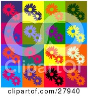 Clipart Illustration Of A Background Of Red Purple Orange Green Blue Black And White Flowers In Different Colored Squares