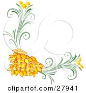 Clipart Illustration Of A Corner Floral Design Element Of Orange Flowers On Green Vines