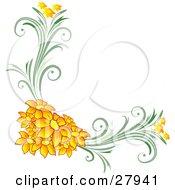 Corner Floral Design Element Of Orange Flowers On Green Vines