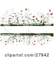 Blank White Text Box Bordered By Green Grunge And Red Flowers On Vines
