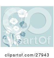 Clipart Illustration Of White Blue And Faded Flowers Over A Blue Background