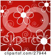 White Daisy Flowers And Swirls Over A Red Background