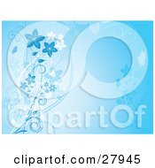 Clipart Illustration Of A Gradient Blue Background With White And Faded Blue Vines And Flowers