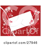 Clipart Illustration Of Pink And White Floral Vines Holding Up A Blank White Text Box Over A Red Background