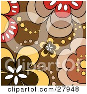 Background Of White Red Yellow And Brown Flowers And Dots