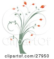 Clipart Illustration Of A Tall Green Plant With Red Flowers