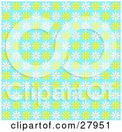 Clipart Illustration Of A Background Of Yellow And White Daisies On Blue
