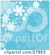 Clipart Illustration Of A Background Of White Blue And Faded Daisy Flowers