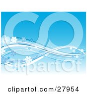 Clipart Illustration Of A Gradient Blue Background With White And Blue Waves Of Lines And Sparkling Flowers