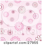 Clipart Illustration Of A Retro Pink Background Of White And Pink Flowers And Circles Over A Weaved Texture