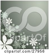 Clipart Illustration Of A Gradient Green Background With White And Green Daisy Flowers Along The Left Bottom Corner