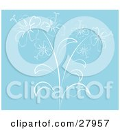 Clipart Illustration Of A Solid Blue Background With A White Outline Drawing Of Hibiscus Flowers
