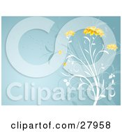 Clipart Illustration Of A White Plant With Beautiful Orange Flower Heads Over A Blue Background With Faded Plants