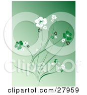 Clipart Illustration Of A Gradient Green Background With White And Green Flowers On Stems
