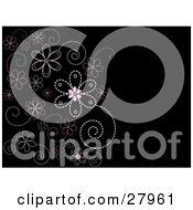 Black Background Of Pink And White Flowers Made Of Dots Or Stitches