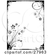 Clipart Illustration Of A Black And White Grunge Background With A Black Border And Flowers Emerging From The Corners