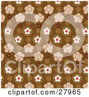 Patterned Background Of Beige Red And White Flowers And Swirls
