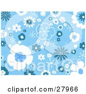 Clipart Illustration Of A Background Of Blue And White Flowers Bursts And Stars