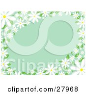 Clipart Illustration Of White Daisy Flowers With Green Leaves Bordering The Edges Of A Green Background
