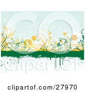 Green Grunge Dripping Text Box Over A Blue Background With Orange And White Circles And Flowers