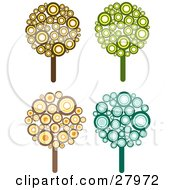 Clipart Illustration Of A Set Of Four Retro Styled Trees Made Of Brown Yellow Orange Green And Blue Circles