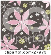 Clipart Illustration Of A Brown Background With Pink Green And White Flowers