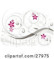 Curling Brown Vines With Pink Flowers Over A White Background