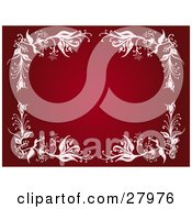 Deep Red Background Bordered With Pale Pink Flowers And Vines